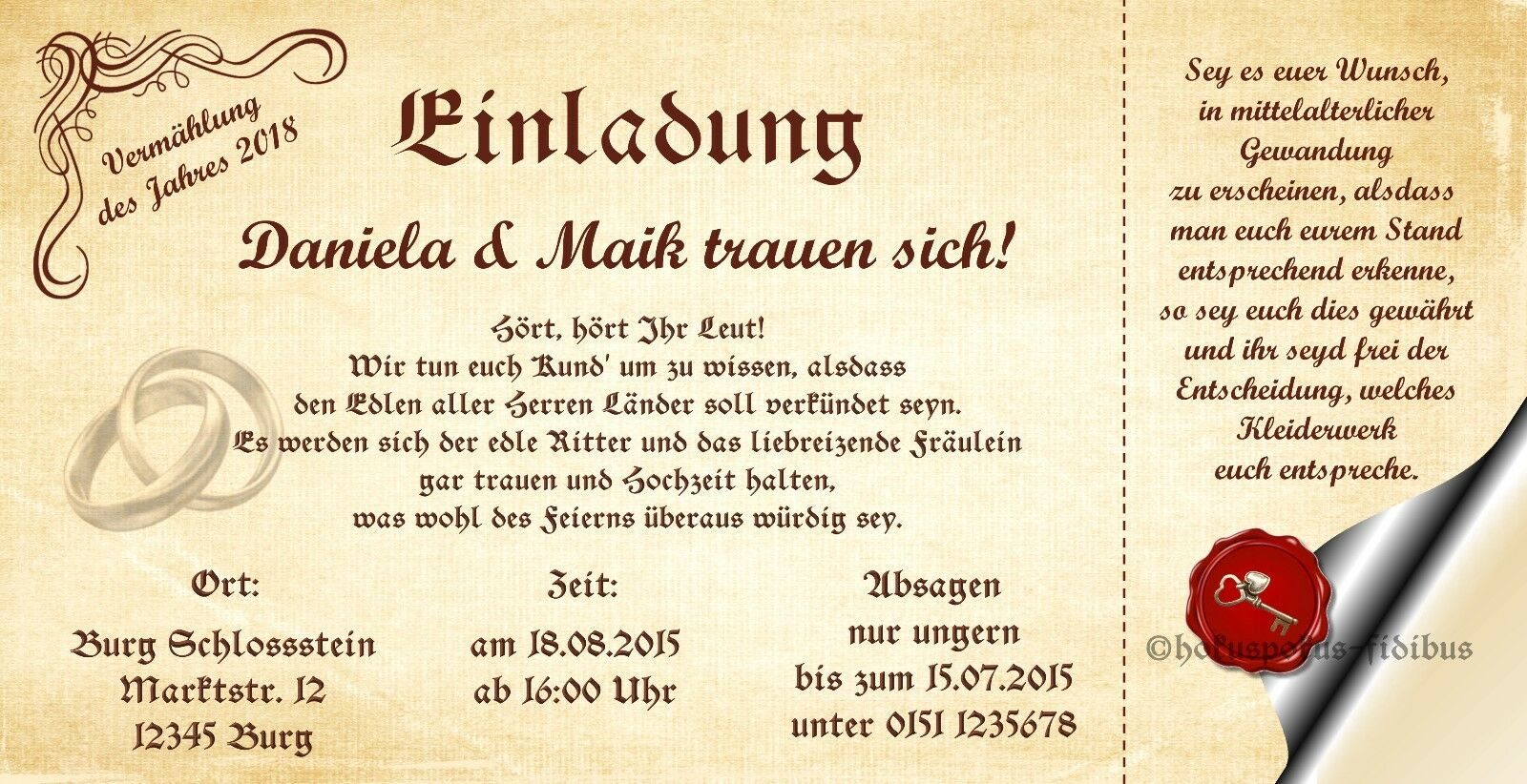 50 Einladungskarten Vermählung Einladungen Mittelalter 21 x 10 5 Hochzeitskarten
