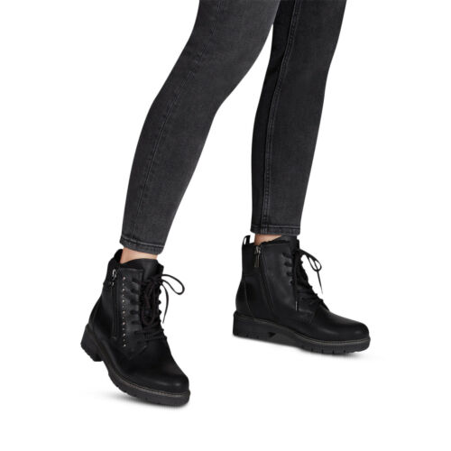 With Comfort Foot Bed 6 6.5 Tamaris Women/'s Black Ankle Boot Sizes 5 7