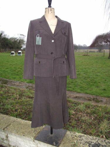 Flattering HOBBS Brown Silk & Linen Skirt & Jacket Suit Size 14 BNWT