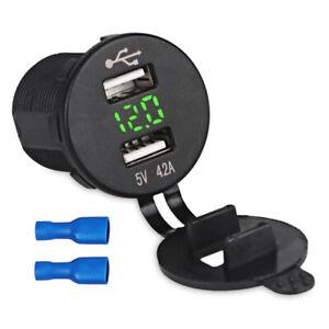 Dual-USB-Gruen-LED-Steckdose-Adapter-Ladegeraet-mit-Voltmeter-12-24V-Auto-Boot-RV
