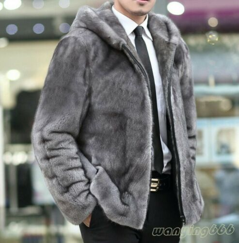 2020 Mens Real Mink Fur Coat Furry Warm Thick Hooded Jacket Outwear Parka