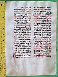 Early&Large Deco.Medieval Breviary Manuscript Leaf,Handpt.Initials,ca.1350