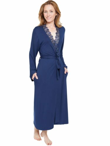 Ladies Navy Blue Soft Knit Lace Dressing Gown Robe /'Adele/' Nora Rose ~ SIZE 8