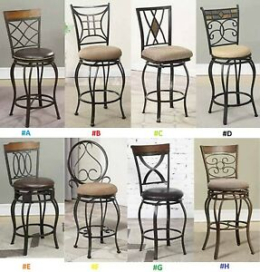 24 Counter Bar Chairs Kitchen Patio Metal With Back Swivel Stools