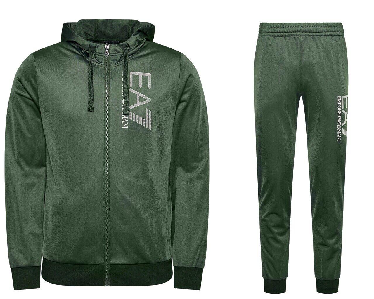 Emporio Armani 3KPV58 PJ08Z Mens EA7 Hooded Tracksuit Green Jogsuit