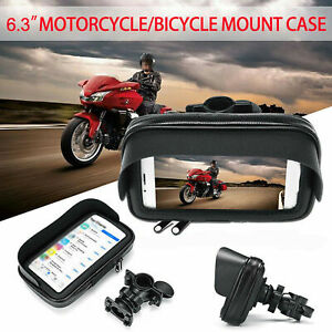 Waterproof-Motorcycle-Bike-Handlebar-Cell-Phone-GPS-Holder-Case-Bag-Mount-Black
