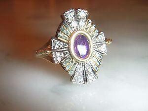 Impresionante-Anillo-Sol-de-Oro-9-CT-Estilo-Art-Deco-Amatista-y-Diamantes