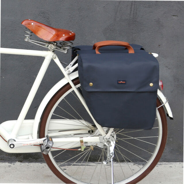 Tourbon Bike Double Pannier Bicycle Waxed Canvas Bag Roll-up Rear Seat Blue