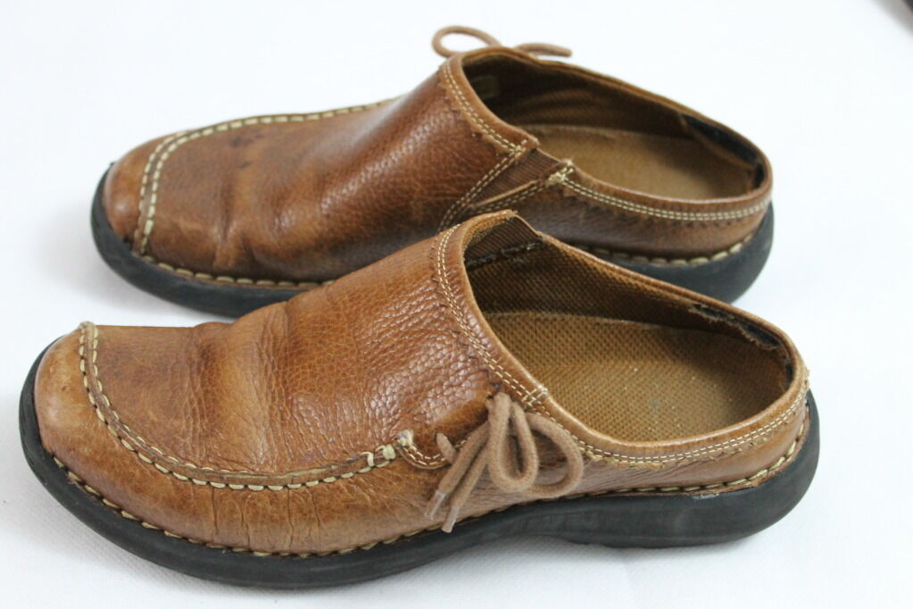 Women's NATURAL REFLECTIONS BROWN LEATHER CHUNKY 7.5M SLIDES WEDGE CLOGS MULES 7.5M CHUNKY c8e068