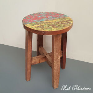 Image Is Loading Hand Made Rustic Recycled Boat Wood Stool Side