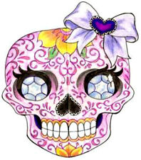 20  WATER SLIDE NAIL ART  DECAL TRANSFERS DAY OF THE DEAD SUGAR SKULL PINK