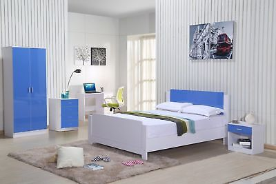 finest selection f3591 81c21 Blue Gloss White Bedroom Furniture set 3 Piece Trio Wardrobe Chest Bedside  Kids | eBay