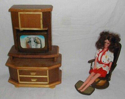 1/6 Puppenstube - Puppenmöbel - Fernsehschrank + Sessel