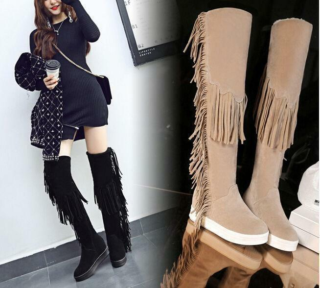Womens Girls Long Tassel Fringe Knee High Boots Winter Wedge Heel Winter shoes