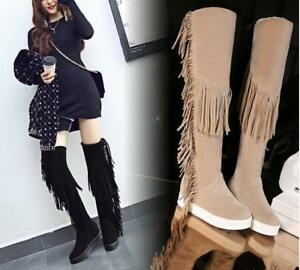 48cc597db8a Womens Girls Long Tassel Fringe Knee High Boots Winter Wedge Heel ...