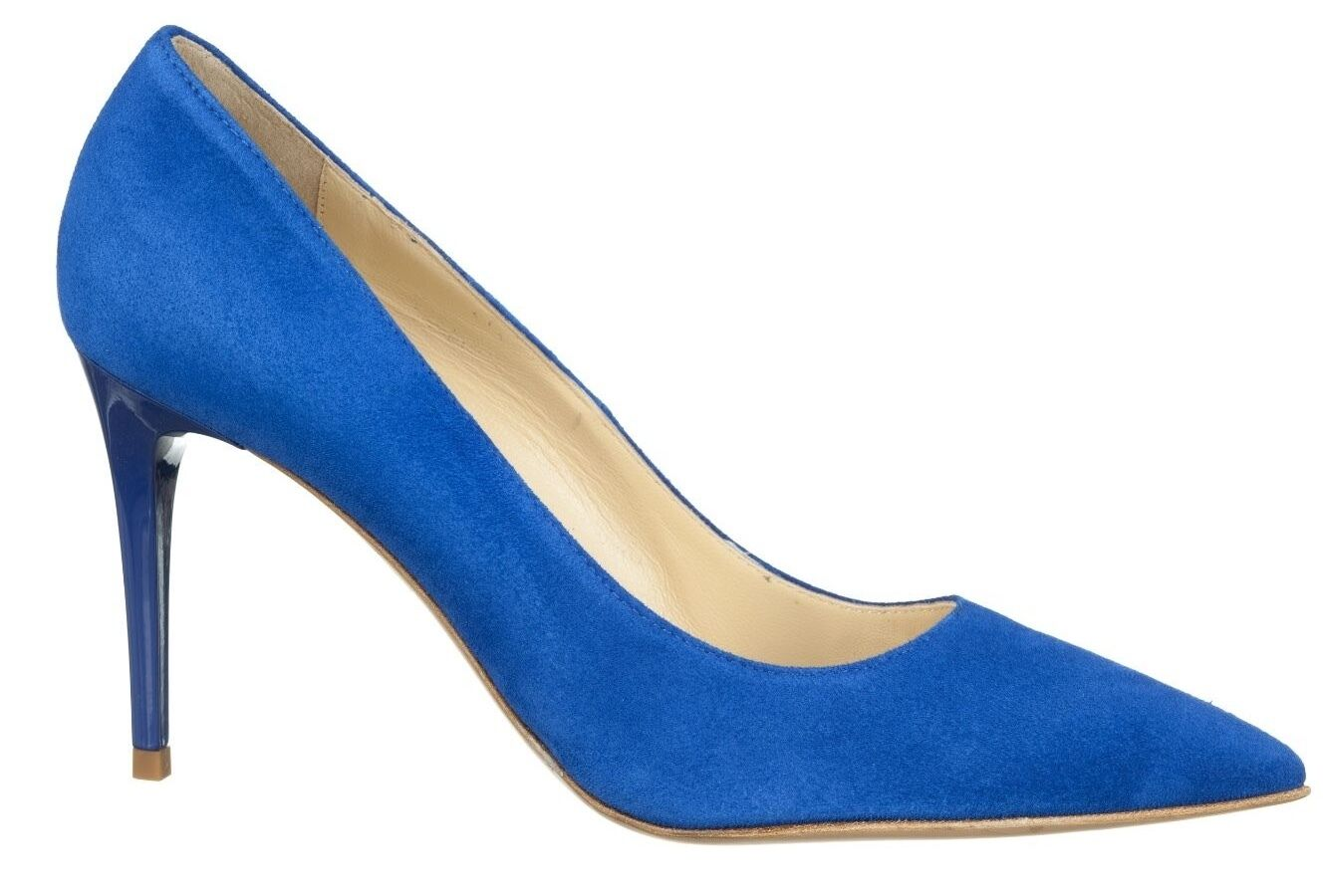 MORI MADE MADE MADE IN ITALY POINTY HEELS PUMPS zapatos DECOLTE PELLE ELECTRIC azul azul 38  Envio gratis en todas las ordenes