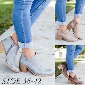 5f0b2dc6967a Women Short Chunky Ankle Booties Pointed Toe Mid Block Heel Boots ...