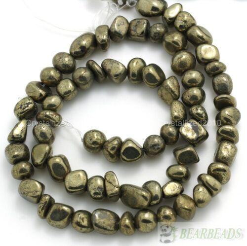 De Hierro Natural Pirita Piedras Preciosas freeformed Pepita suelta granos de 16 pulgadas STRAND