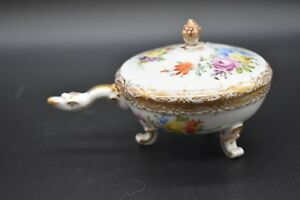 Carl-Theime-Dresden-German-Flowers-amp-Gold-Covered-Turtle-Soup-Cup-Ramekin