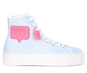 Sneaker-alta-Chiara-Ferragni-Logomania-in-glitter-azzurro