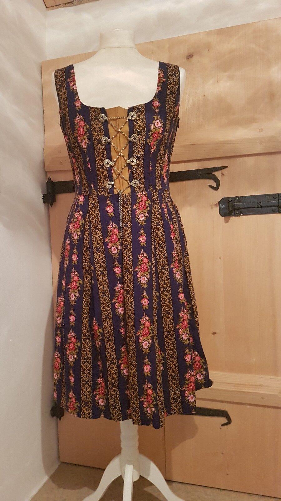 Original Vintage Dirndl Größe 36 38 Blau Blaumen Bunt | Hochwertige Materialien  | Kaufen  | Qualitativ Hochwertiges Produkt  | Eleganter Stil  | Feinen Qualität