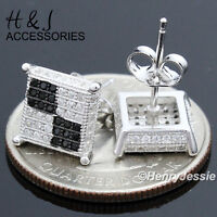 Men 925 Sterling Silver Square 9x9mm Black/silver Iced Out Stud Earringe117