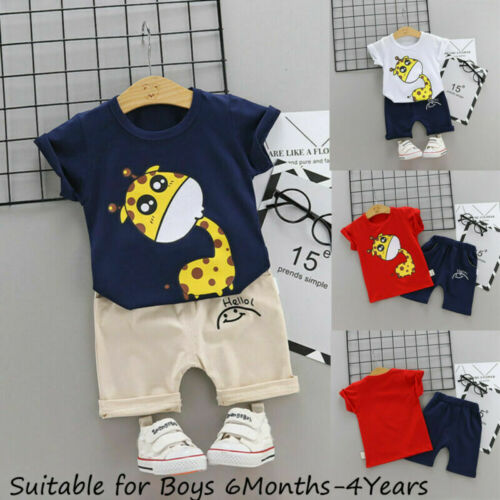 Toddler Kids Baby Boys Cartoon Letter Outfits T-shirt Tops+Shorts Clothes