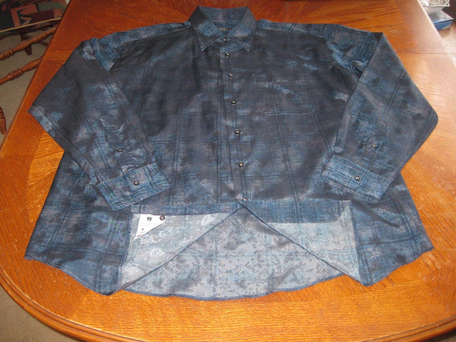 Zanella Shirt Made in  Navy Blau Geometric Iridescent Größe XXL NWOT 295