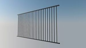 Certified Aluminium Pool Fence Panel 3000x1200 Flat Top  BLACK