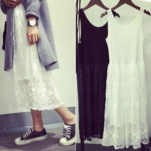 Vest-Lace-Dress-Long-Tank-Render-Extender-Tee-Cotton-Top-Sleeveless-Trim-Layer