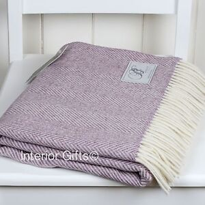 Bronte Lambswool Herringbone Lilac Pink Throw Rug British Pure New