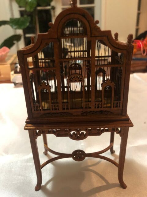 dollhouse miniature birdcage with table. scale 1/12