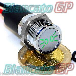 SPIA-LED-14mm-CON-SIMBOLO-LUCI-DI-POSIZIONE-metallo-12V-indicator-light-VERDE