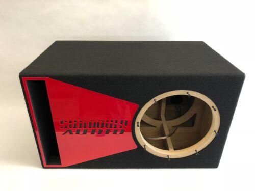 Sundown Audio X 12 v.2 ported sub box SPECIAL EDITION with red plexi port trim