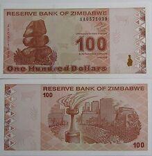 """BILLETE """"  ZIMBABWE   100   DOLARES   AÑO  2009    PLANCHA    UNC"""