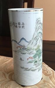 A-Chinese-Porcelain-Hatstand-Vase-Landscaping-with-Caligraphy