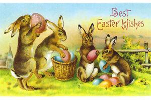 Easter-Fridge-Toolbox-Magnet-3x2-Vintage-Poster-Bunny-Rabbit-Eggs-Basket-Art