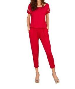 d7614e1d977dfd Das Bild wird geladen Overall-Jumpsuit-Einteiler-Damen-Hosenanzug-rot-Gr-36-