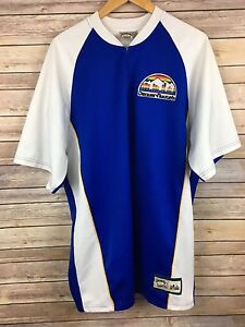 info for d4c60 619c4 Details about Vintage Denver Nuggets Jersey NBA Hardwood Classic Warm Up  Rainbow Pull Over 80s