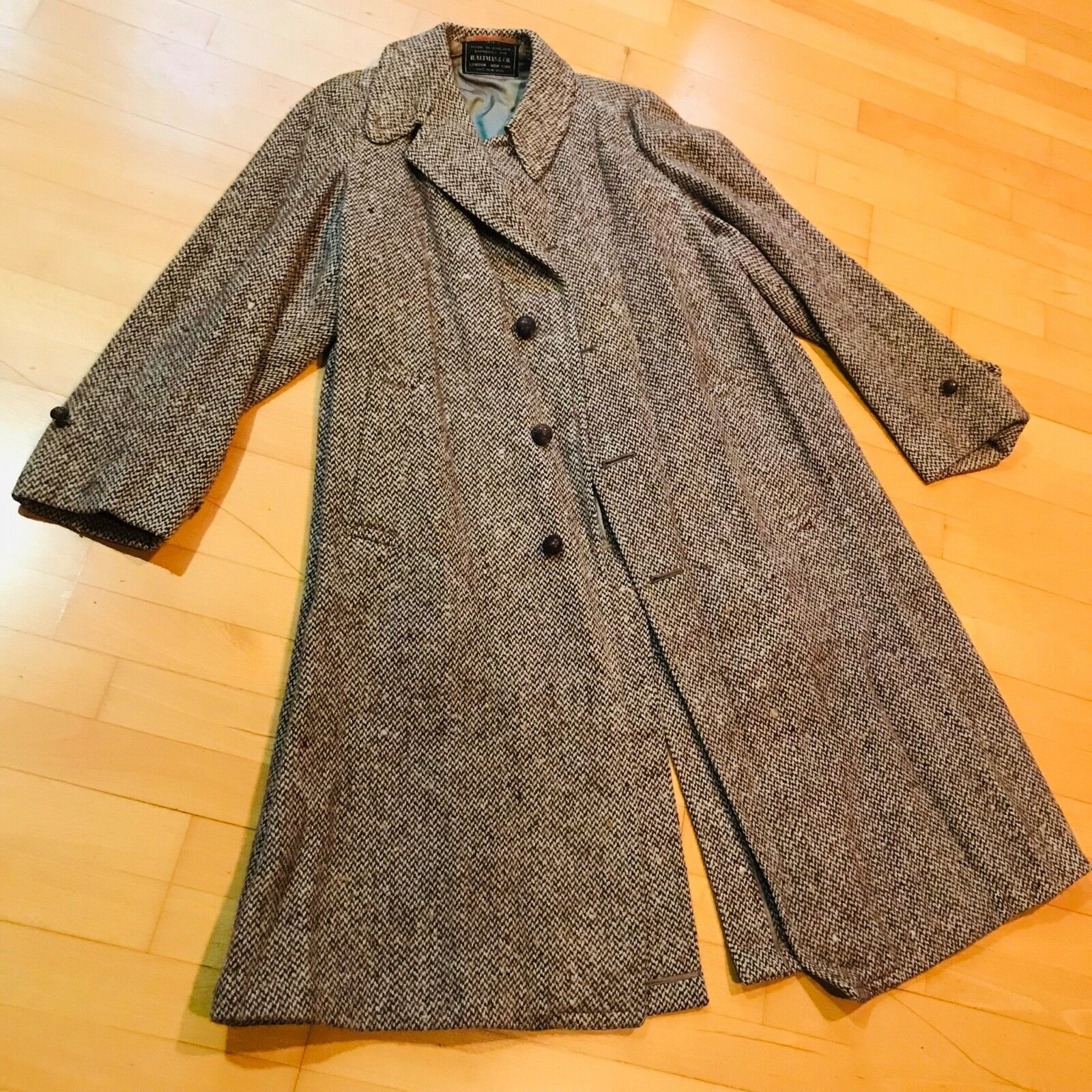 Baltman & Co. Coat 100% Wool Made in England Full Length Winter Coat Grey Tweed