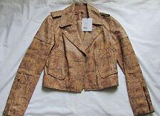 DIANE von FURSTENBERG Cork Print Soft Leather Motorcycle jacket/coat Size 0,XXS