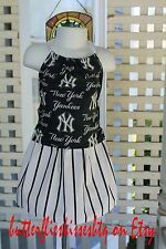 Handmade dress size 2-3T New York Yankees skirt top toddlers girls navy white