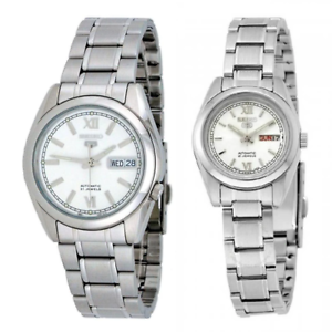 Seiko-5-Classic-Silver-Dial-Couple-039-s-Stainless-Steel-Watch-Set
