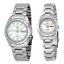 Seiko-5-Classic-Silver-Dial-Couple-039-s-Stainless-Steel-Watch-Set thumbnail 1