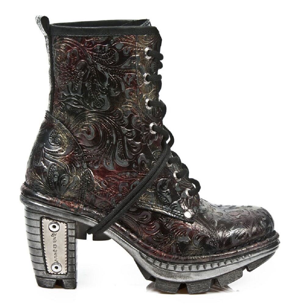 New Rock Women Leather Biker Boots Vintage Printed Skin  - M.NE0T008.S13