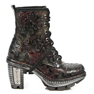 Printed New M ne0t008 Boots Women Biker Rock Leather Vintage Skin YBUF6BWv