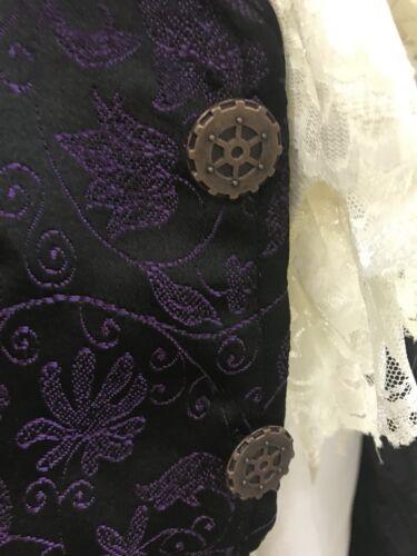 Cogs Taglia With S Jacket Shirt Brocade Purple Satin Steampunk 4qZI77