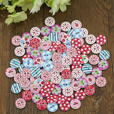 100x Tasteful Mix Wooden Painting Buttons Craft Scrapbook Sewing Cardmaking DIY