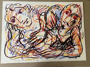 Rick-McCarthy-Original-Oil-039-Friends-039-Pastel-Signed-Art-Picasso-School