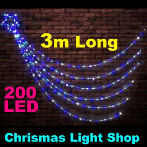 image is loading 200 led blue amp white waterfall star 3m